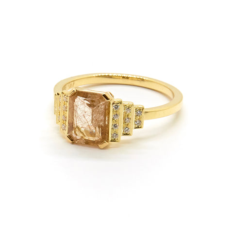 Maya Ring with Rutilated Quartz and White Diamonds