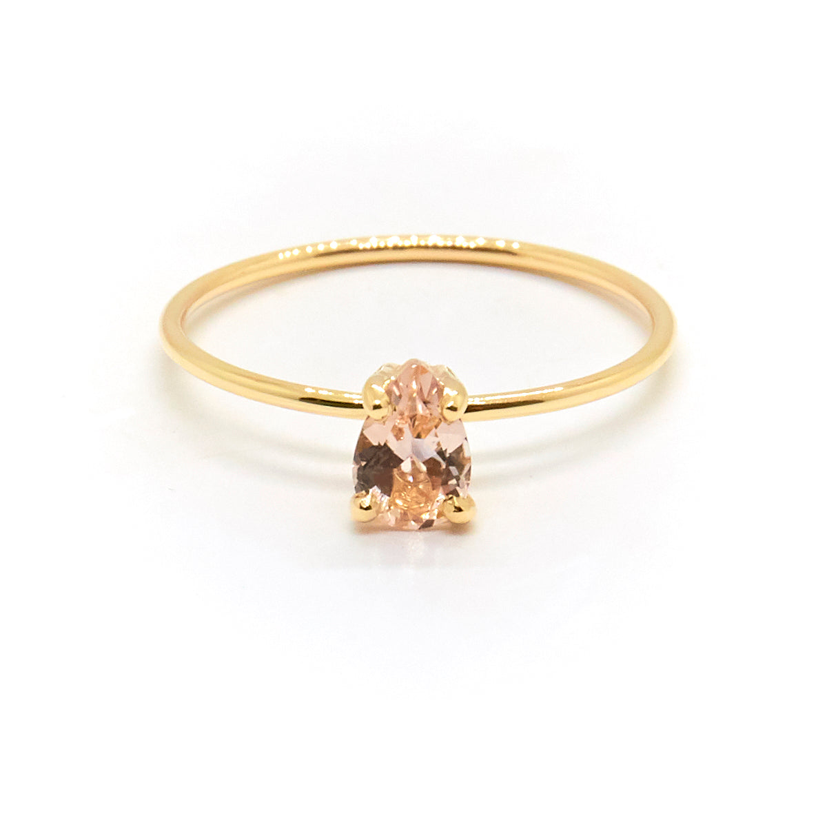 Tiny Pear Ring With Morganite