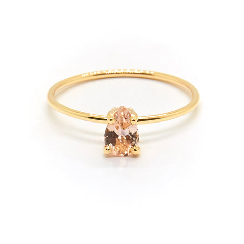 Tiny Pear Ring | Morganite