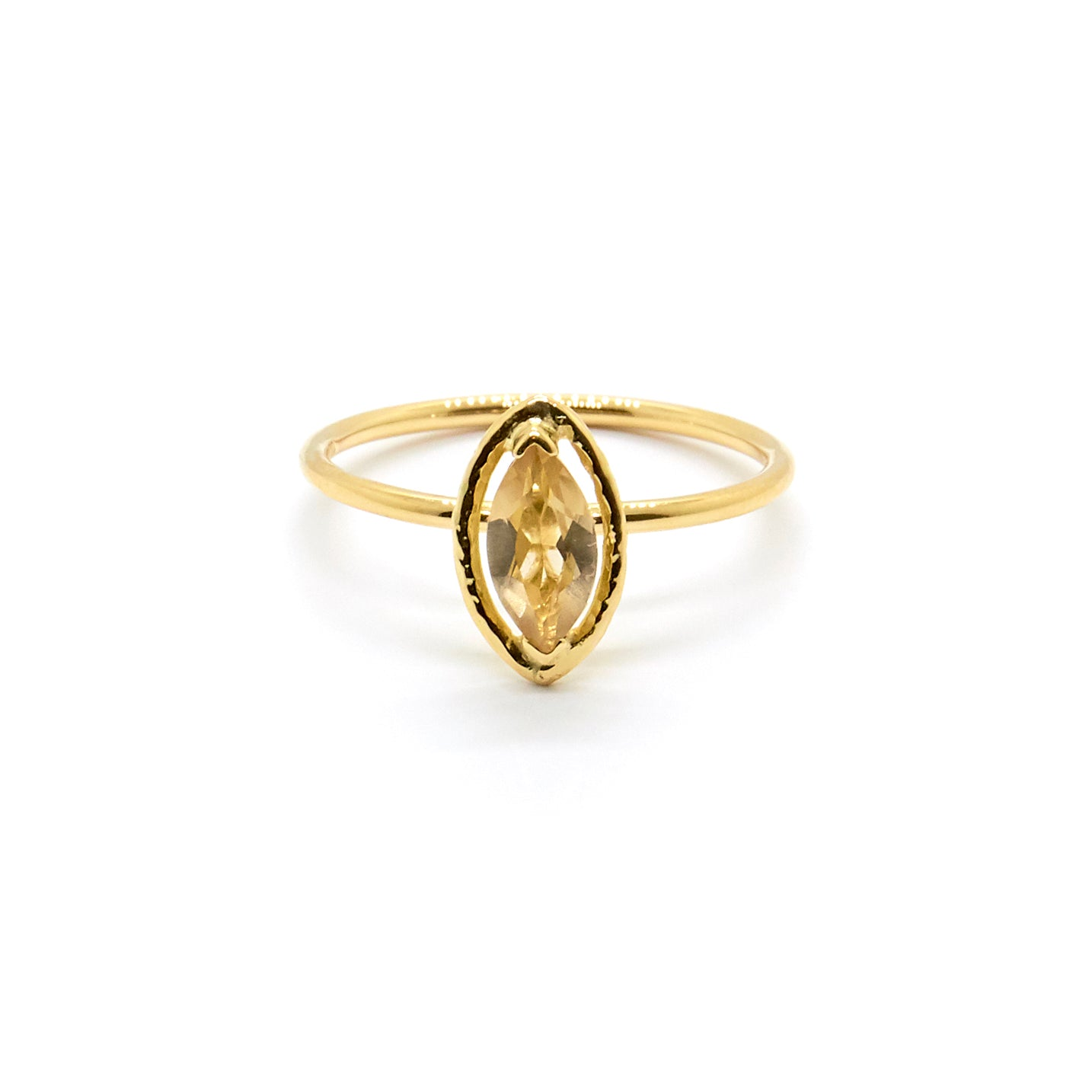 Marquise Faceted Halo Ring | Champagne Quartz