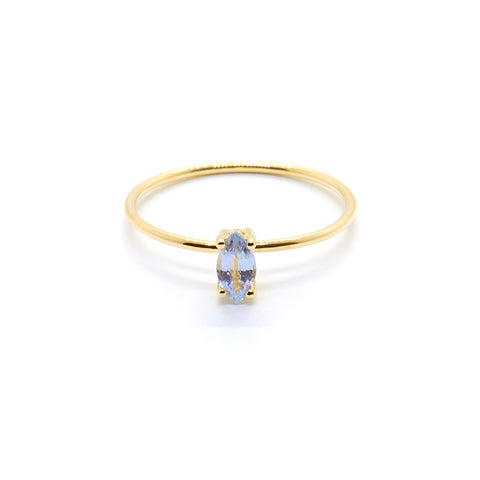 Tiny Marquise Ring with Pale Blue Sapphire