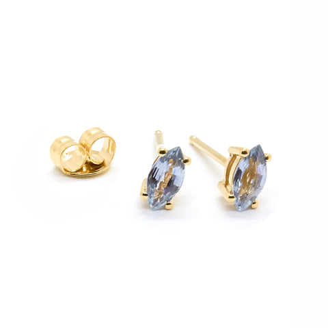 Tiny Marquise Studs | Pale Blue Sapphire