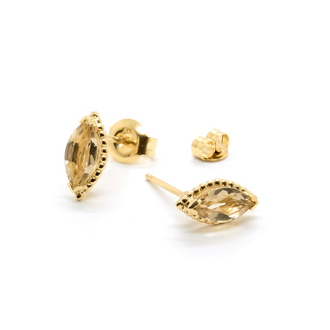 Dotted Marquise Studs | Champagne Quartz