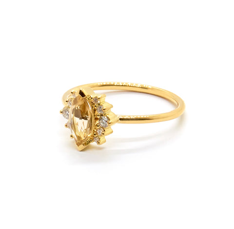 Amelie Ring | Champagne Quartz and Diamonds