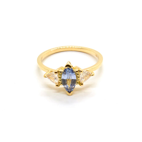 Della Ring | Pale Blue Sapphire and Diamonds