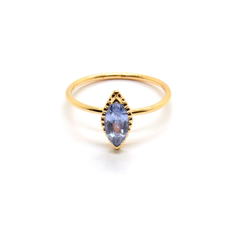 Dotted Marquise Ring with Pale Blue Sapphire