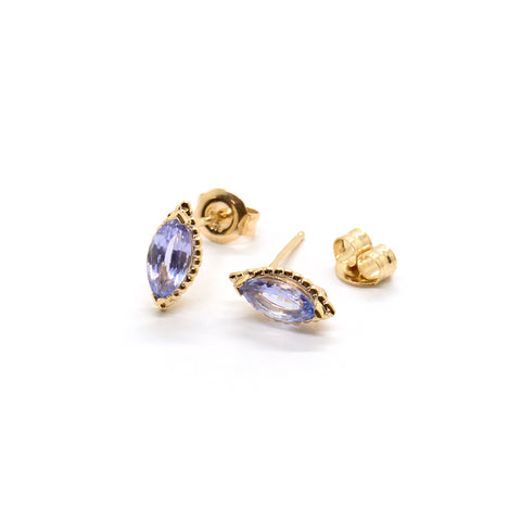 Dotted Marquise Studs | Pale Blue Sapphire