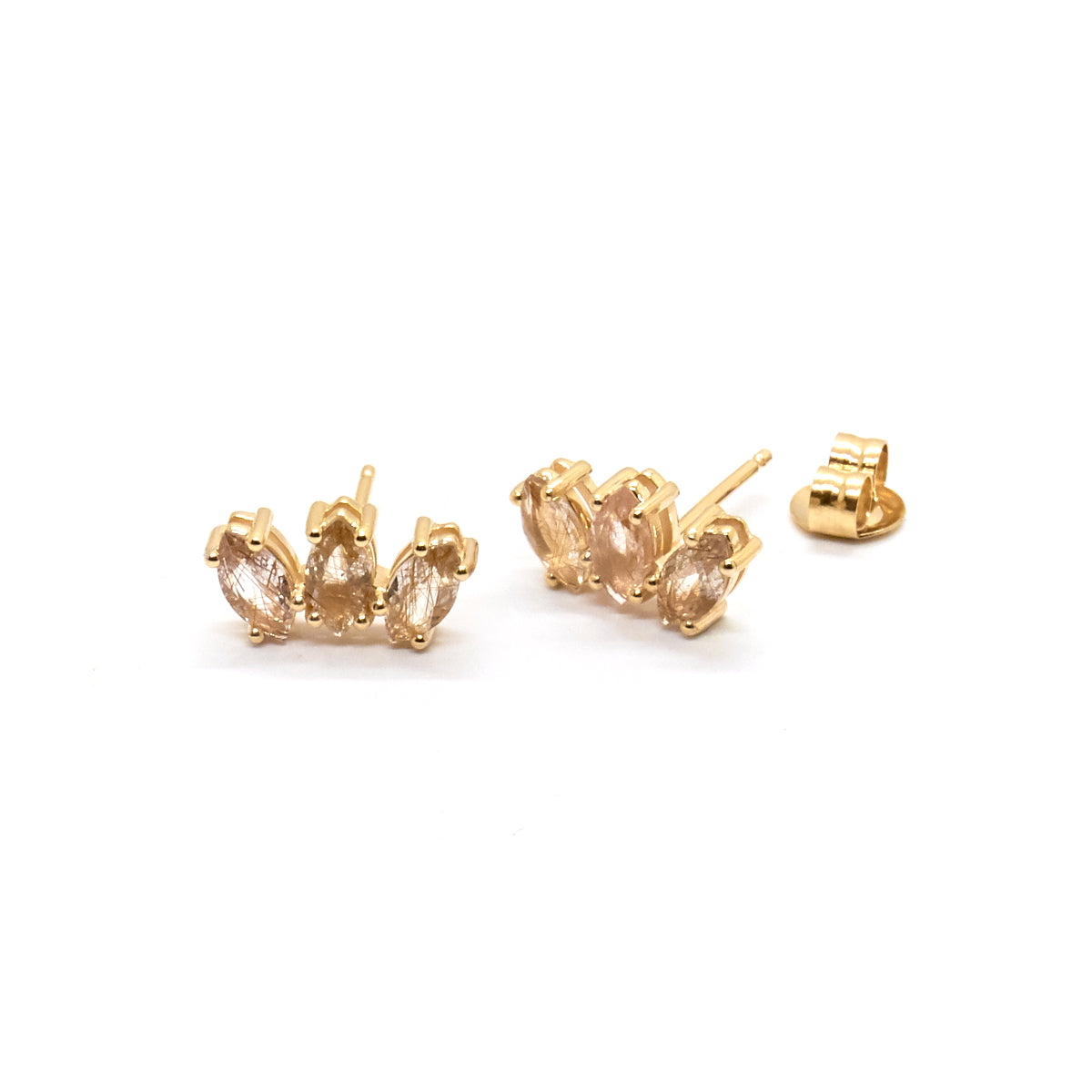 Marquise Sun Studs | Rutilated Quartz