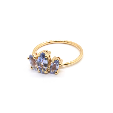 Marquise Sun Ring | Pale Blue Sapphire