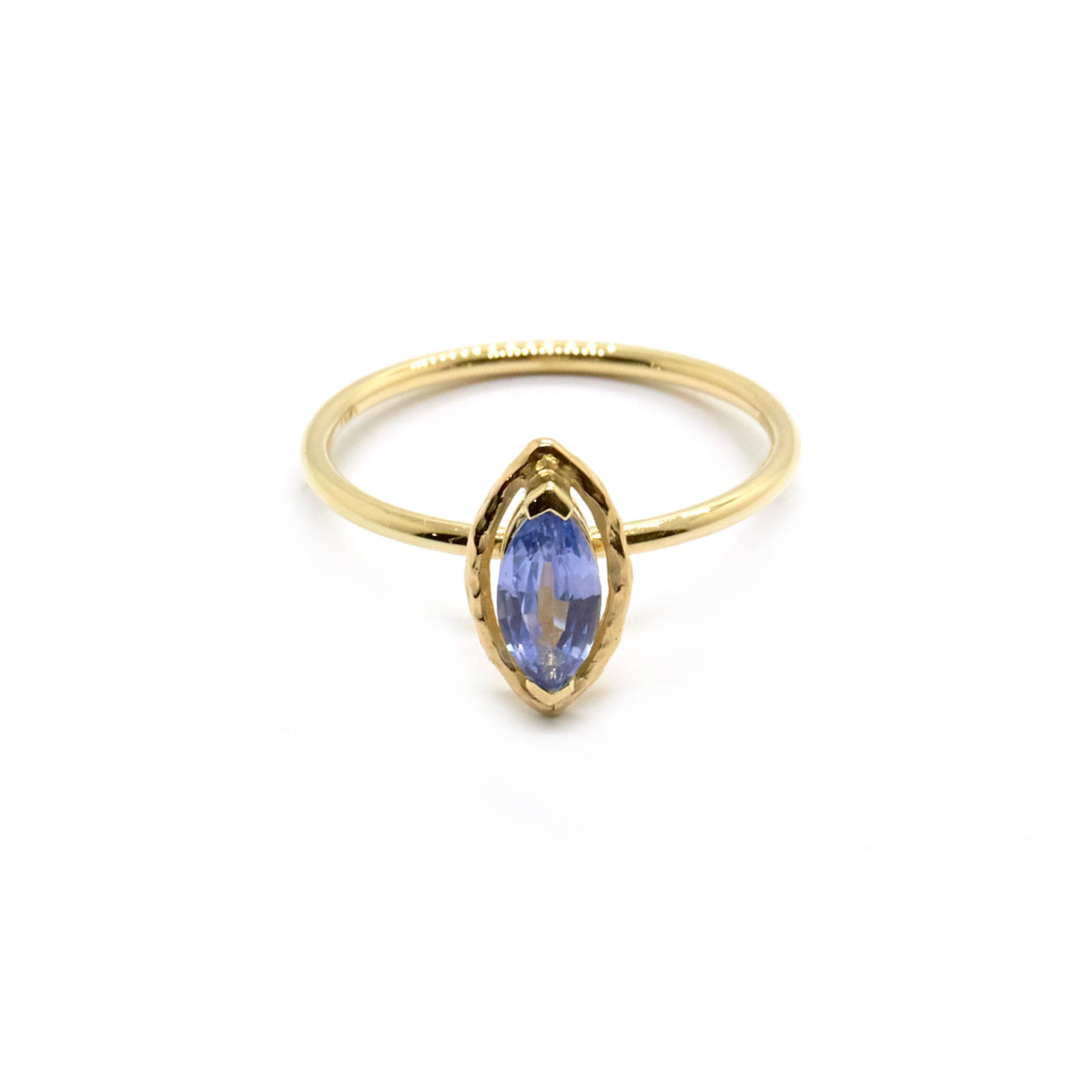 Marquise Faceted Halo Ring | Pale Blue Sapphire