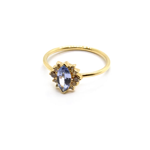Amelie Ring | Pale Blue Sapphire and Diamonds