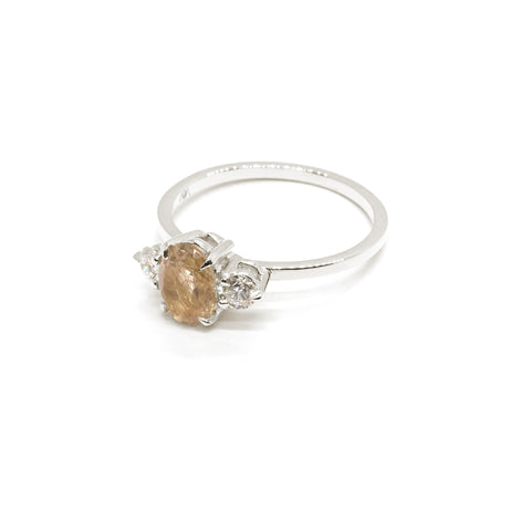 Precious Oval Trio Ring | Rutilated Quartz & Diamonds