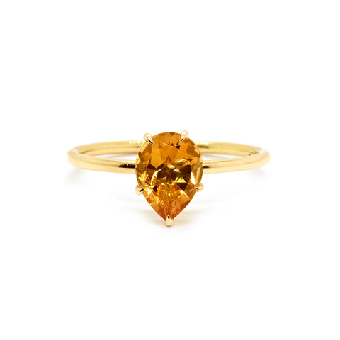 Pear Citrine Solitaire Ring