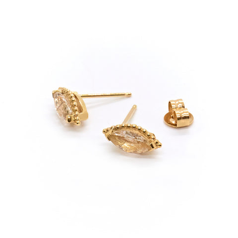 Dotted Marquise Studs | Rutilated Quartz