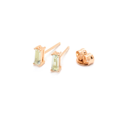 Tiny Baguette Studs | Green Amethyst