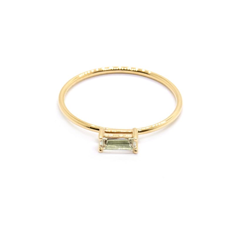 Horizontal Baguette Ring | Green Amethyst