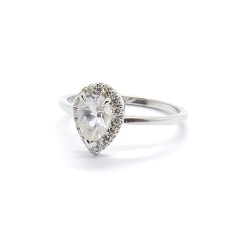 Pear Halo Ring | White Sapphire & Diamonds