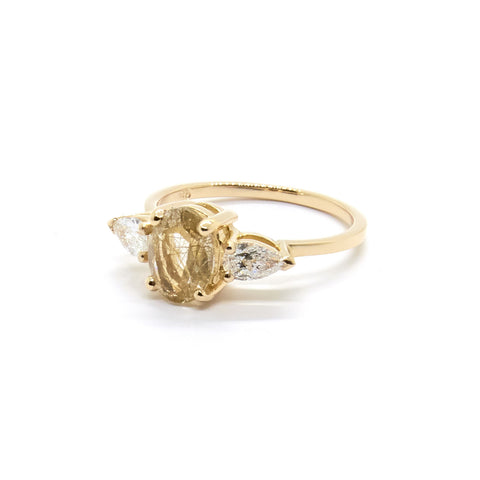 Stevie Ring | Rutilated Quartz and Diamonds
