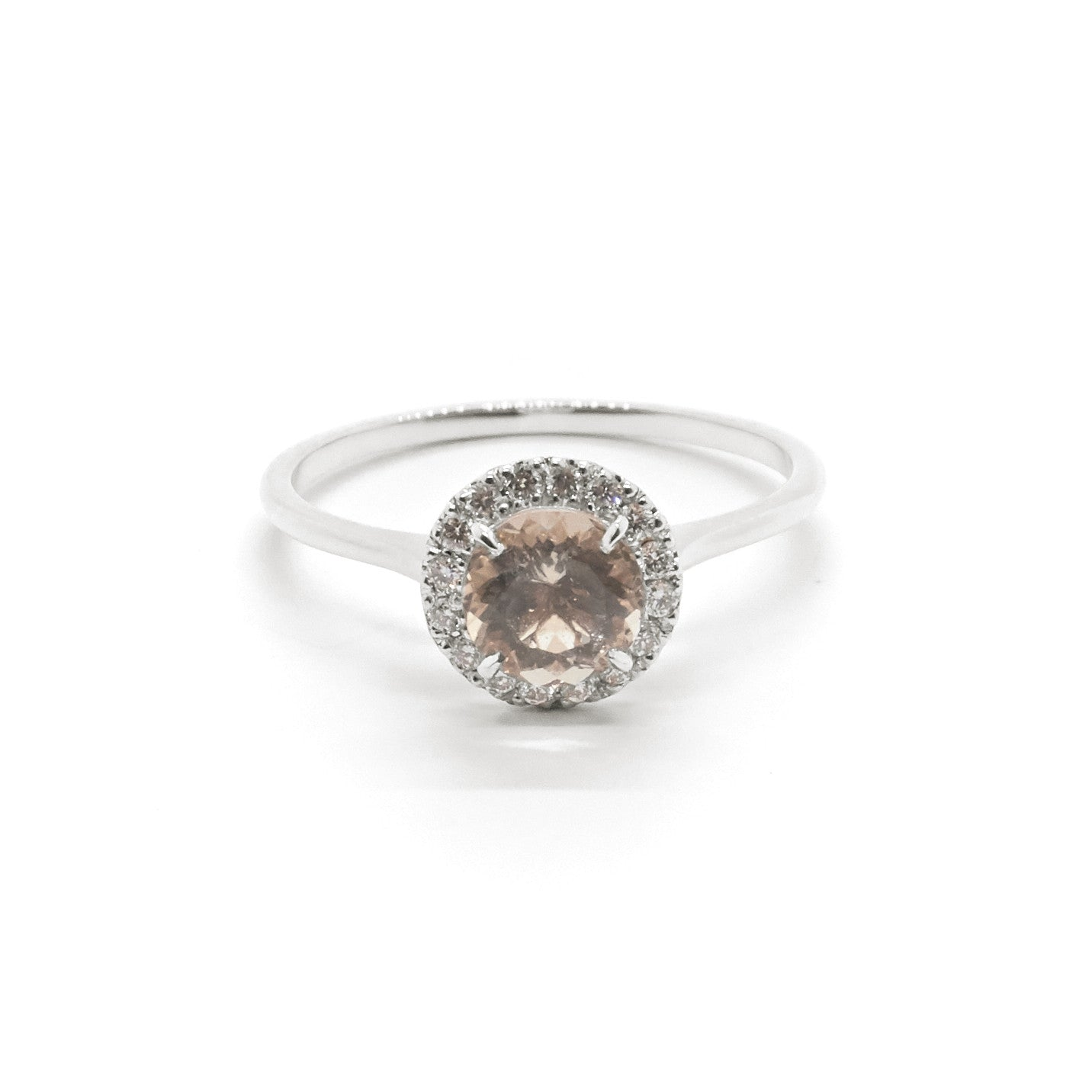 oval engagement natural valuation diamond diamonds ring morganite halo rose gold