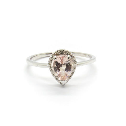Pear Halo Ring | Morganite & Diamonds