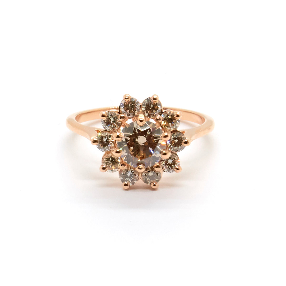 Round Daisy Halo | Champagne Diamonds