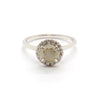 Round Halo Ring | Grey Diamond & White Diamonds