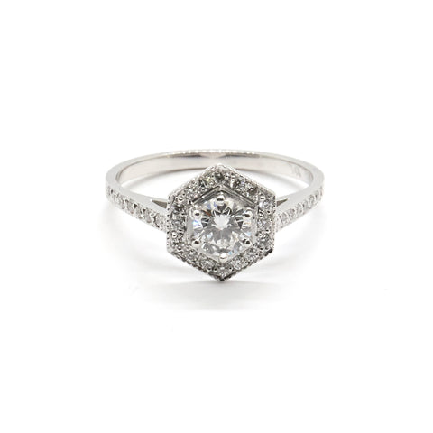 Diamond Hexagonal Halo Ring