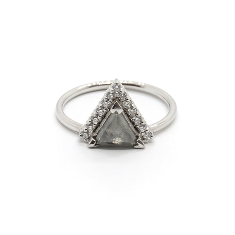 Offset Trillion Grey Diamond Ring