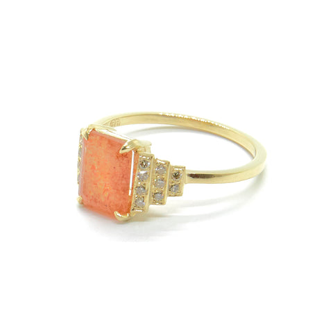 Maya Ring with Sunstone and Champagne Diamonds