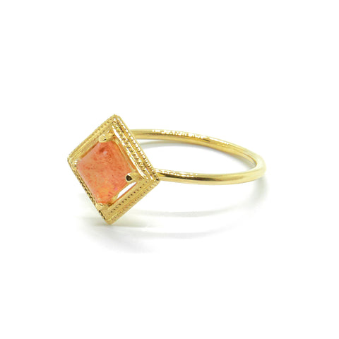 Millgrain Single Quadrant Ring with Sunstone