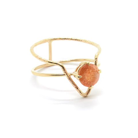 Offset Round Sunstone Ring