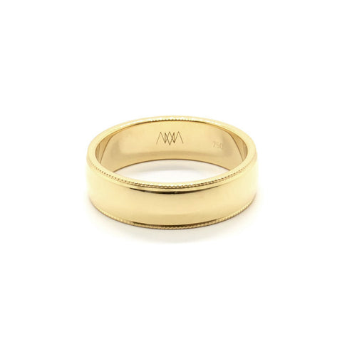 Wide Millgrain Wedding Ring