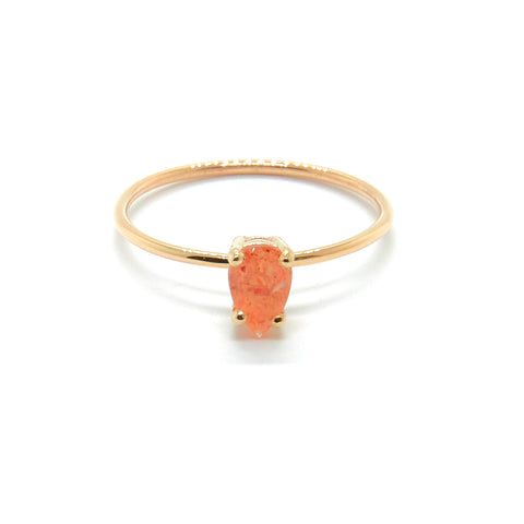 Tiny Pear Ring with Sunstone