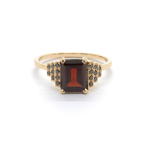 Maya Ring with Garnet and Black Diamonds