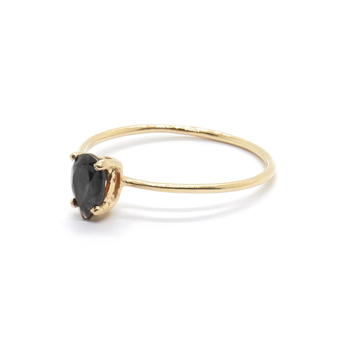 Tiny Pear Ring with Black Spinel
