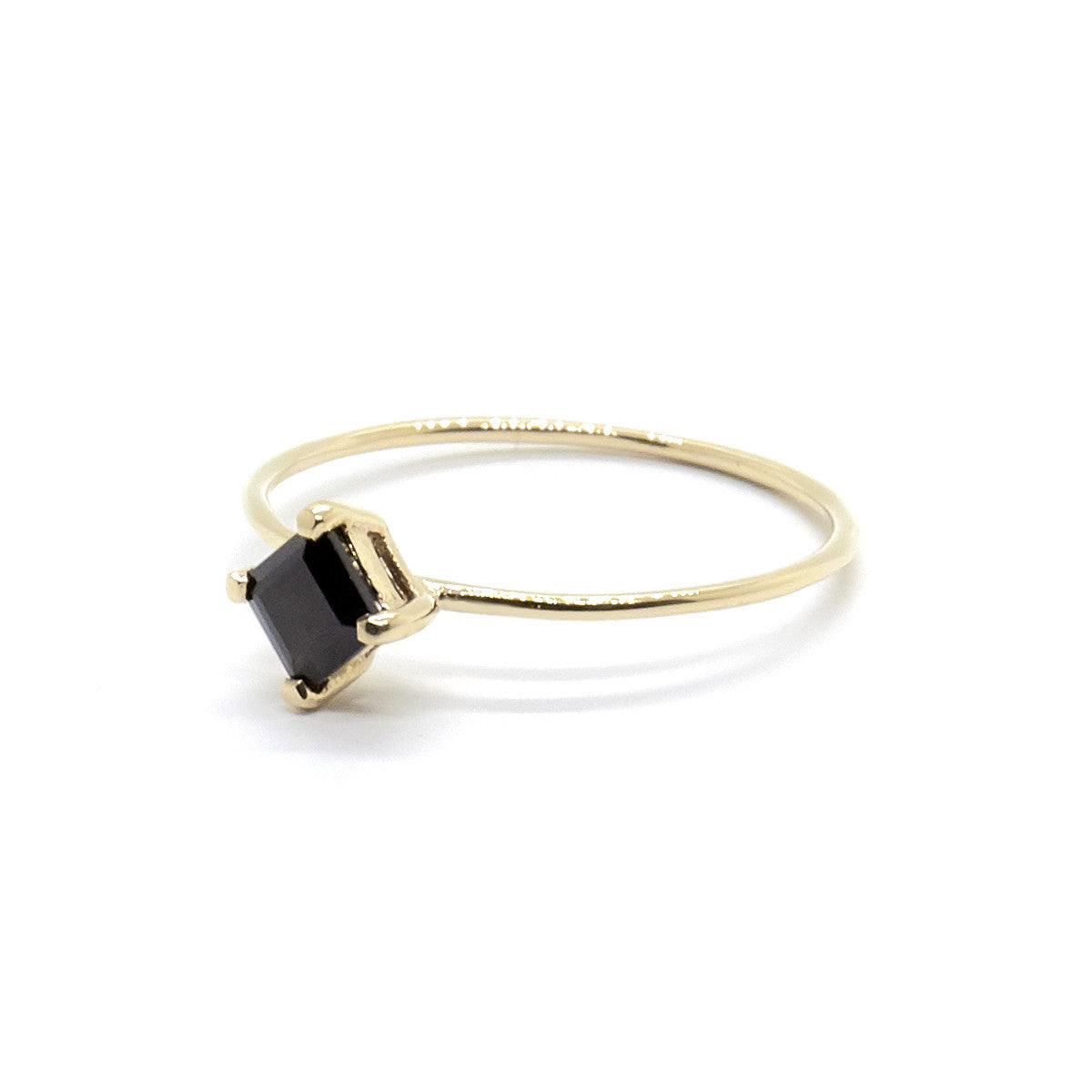 Tiny Square Ring with Black Spinel