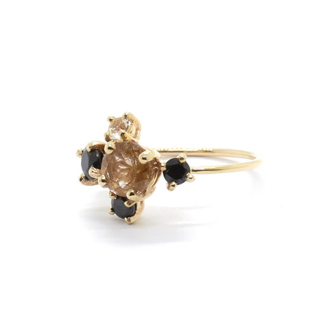 Rutilated Quartz Cluster Ring