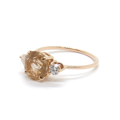 Precious Trio Ring | Rutilated Quartz & Diamonds