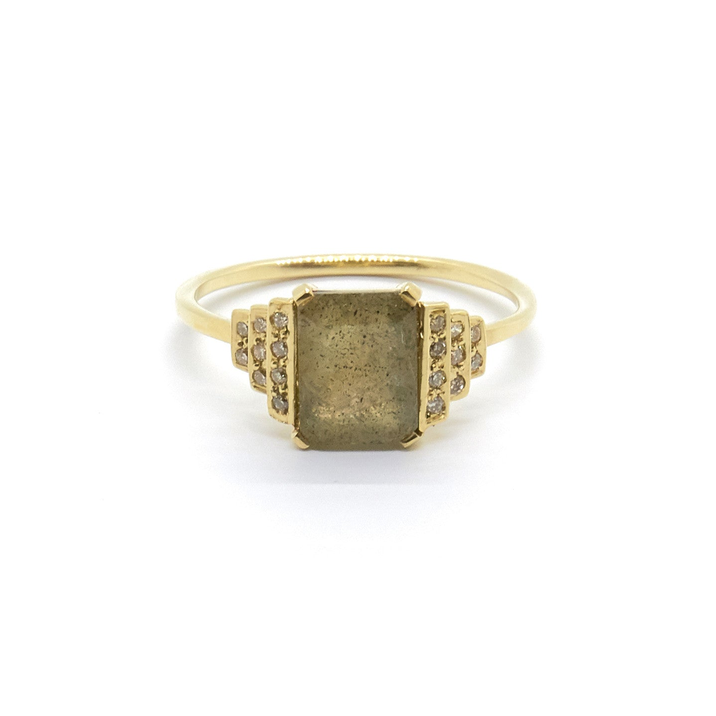 Maya Ring with Labradorite and Champagne Diamonds