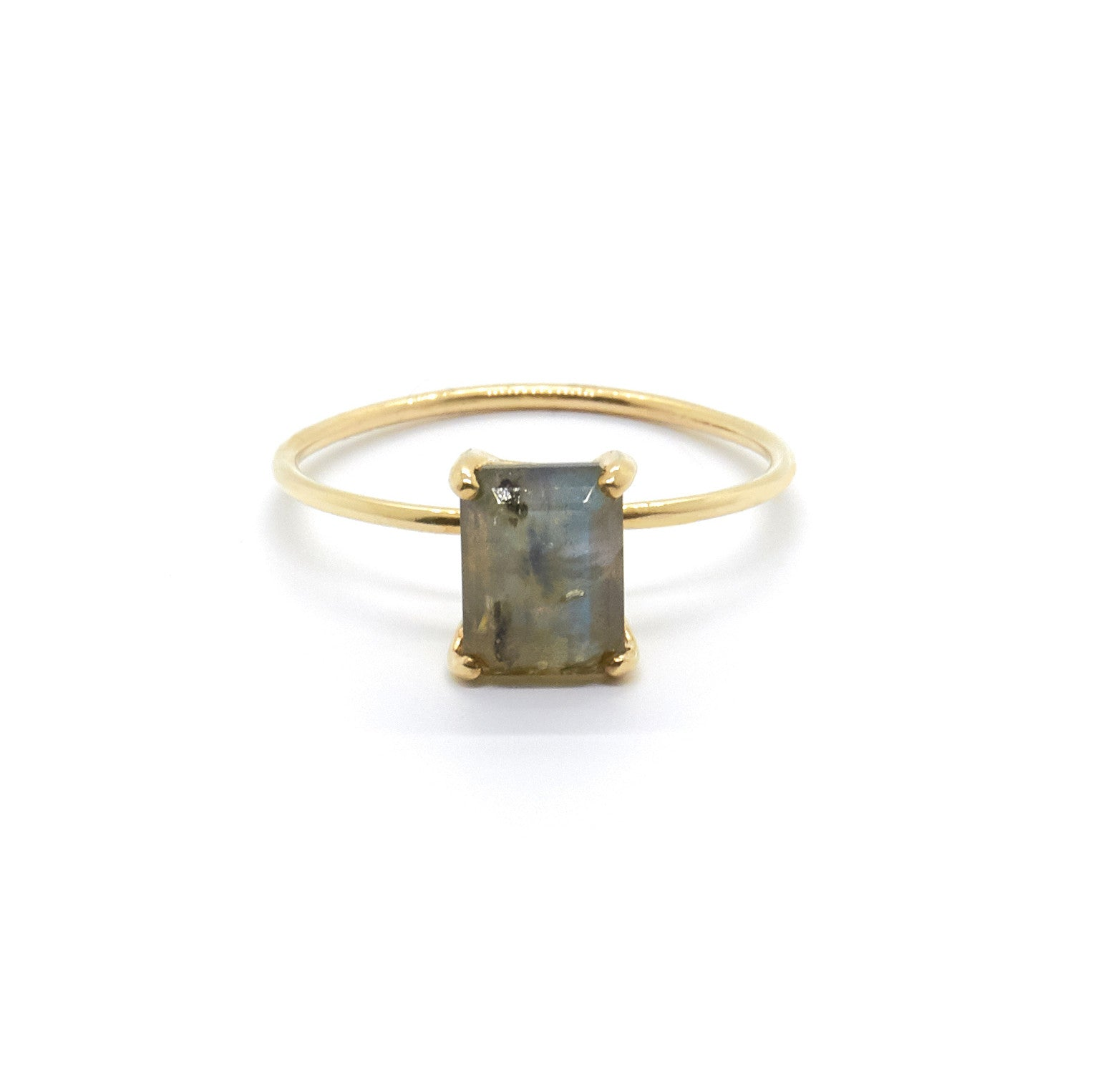 Emerald Cut Labradorite Ring