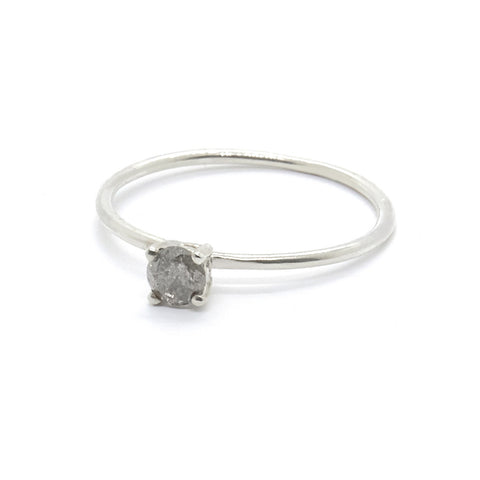 Tiny Salt and Pepper Diamond Ring