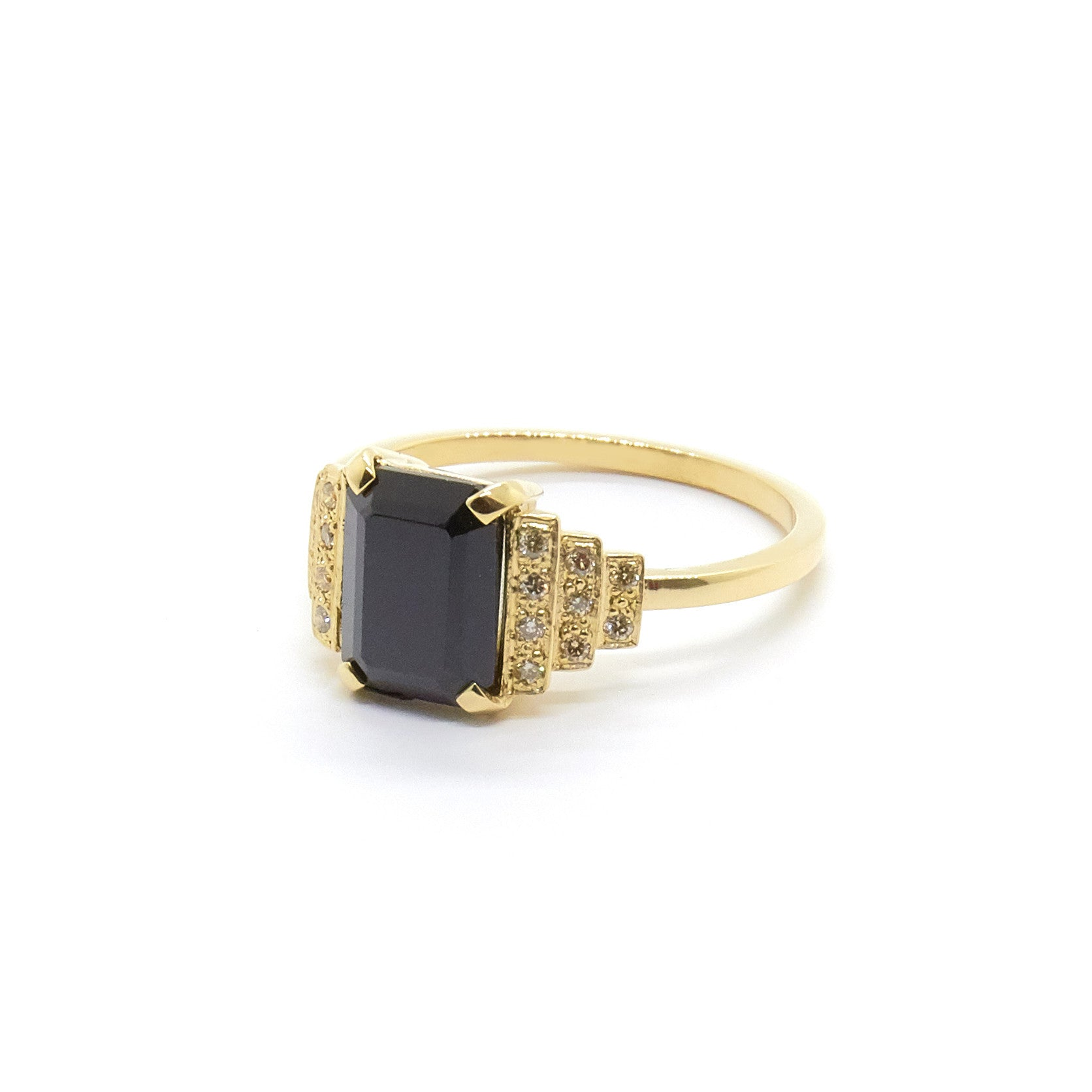 Maya Ring with Black Spinel and Champagne Diamonds