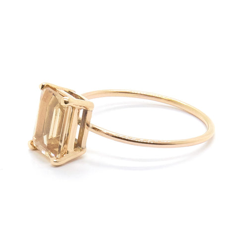 Emerald Cut Ring | Champagne Quartz