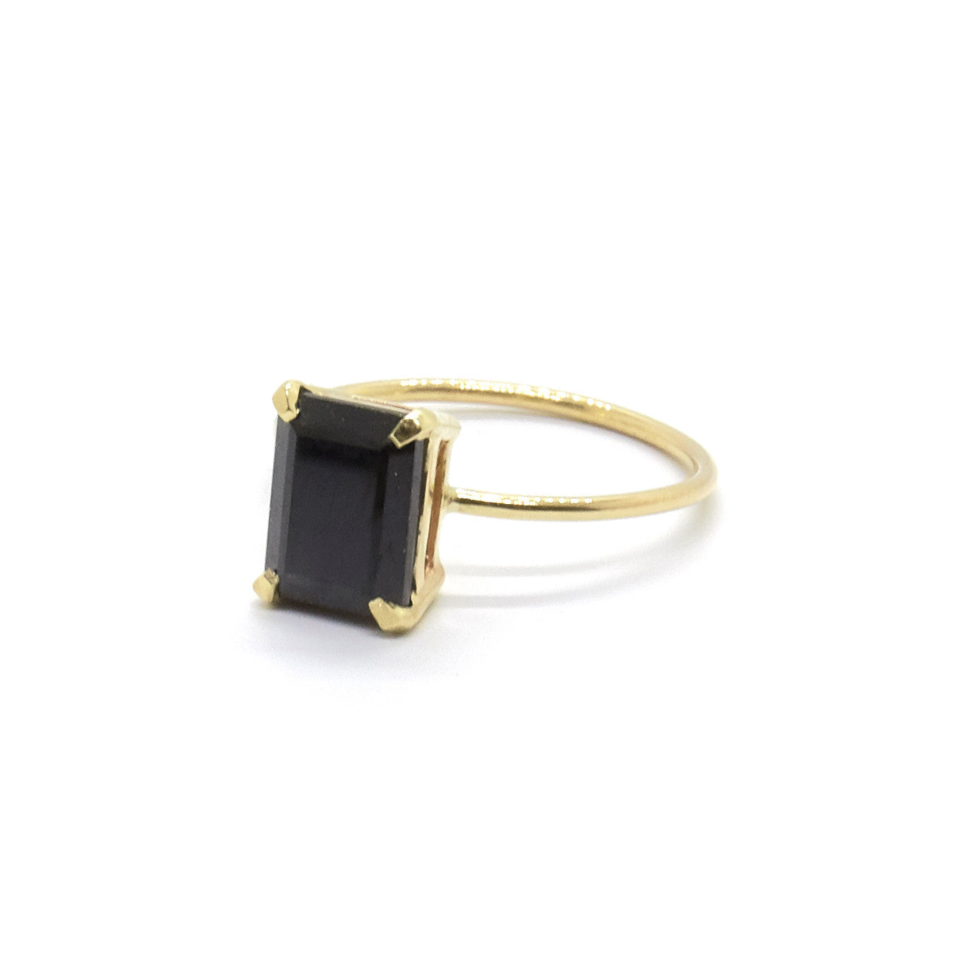 Emerald Cut Ring | Black Spinel