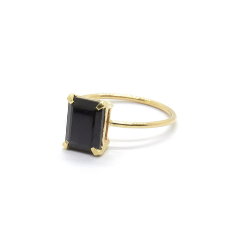 Emerald Cut Ring with Black Spinel