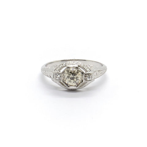 Vintage Platinum Diamond Engagement Ring