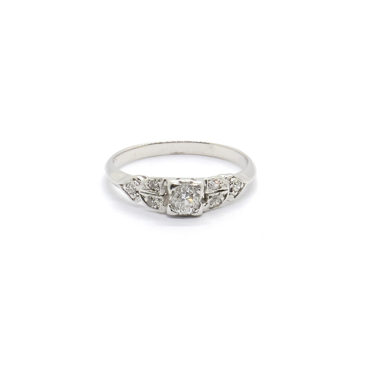 Art Deco Platinum and Diamond Engagement Ring