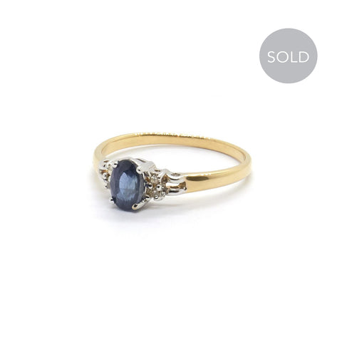Vintage Sapphire & Diamond Engagement Ring