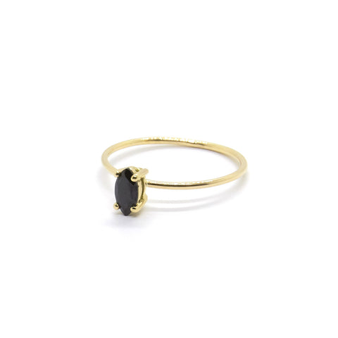Tiny Marquise Ring with Black Spinel