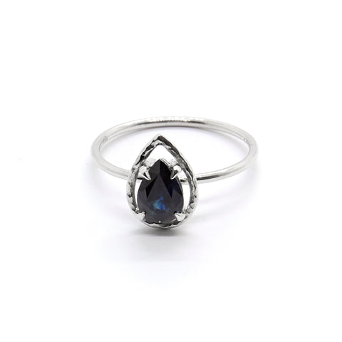 Australian Pear Sapphire Ring with Faceted Halo